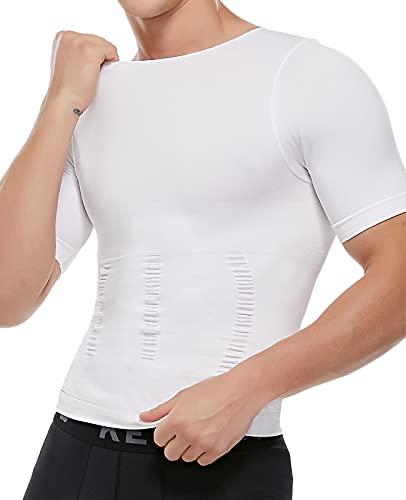 SLIMBELLE Men Compression Seamless Slimming Vest Waist Trainer Tank Top Control Tummy Hide Gynecomastia Man Chest Fat Shirt White L