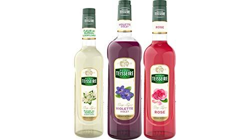 Teisseire Sirup Set Blumen: Sirup Holunderblüte + Veilchen + Rose - 2 x 700ml + 1 x 1L