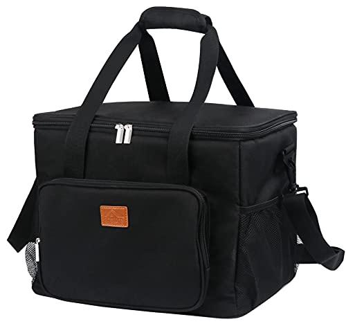 Bolsa isotérmica reutilizable, 24 L, bolsa de picnic con gran capacidad, muy chic para guardar bien el calor y el frío, para el trabajo, la escuela, la playa, color negro clásico