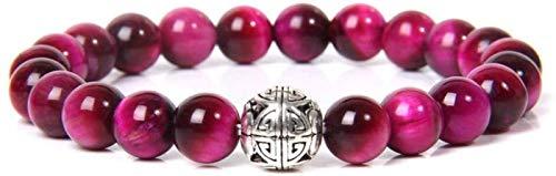 RTUTUR Pulsera de Piedra Mujer, 7 Chakra Natural Tiger Tiger Piedra Bangle Bangle Rose Rojo Pulsera Elástica Grabado Lucky Charm Jewelry para Hombres Señoras