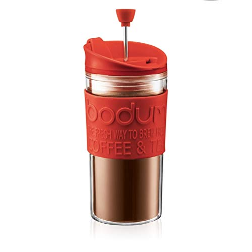 BODUM Travel French Press Coffee Maker Set with Extra Lid, Vacuum, 0.35...