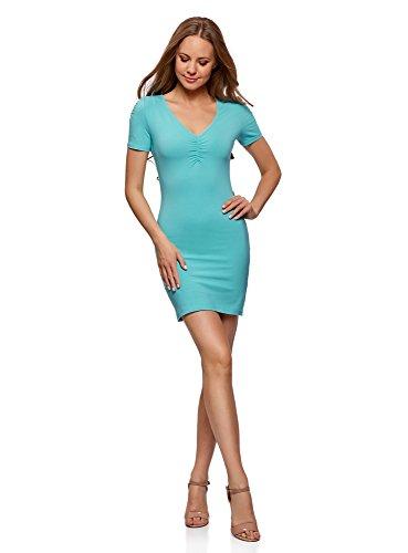 oodji Ultra Damen Enges Kleid mit V-Ausschnitt, Türkis, DE 40 / EU 42 / L