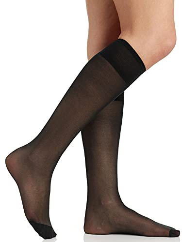 Berkshire Women s All Day Knee High Pantyhose with Reinforced Toe 6355, Fantasy Black, 8.5-11