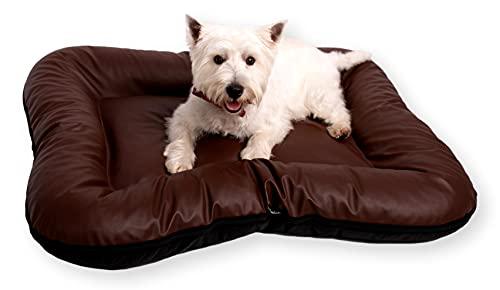 4L Textil Strapazierfähiges Hundebett aus Kunstleder Hundematratze Ella Hundesofa Hundekissen Hundematratze Hundeliege Tierkissen Kunstlederbett Haustierbett für große Hunde (M - 90x70 cm, Braun)