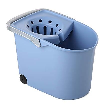 Tatay Cubo de Fregona con Ruedas, de PP, Libre de BPA, Escurridor por Presión, con Asas. Fabricado en España. Color Azul