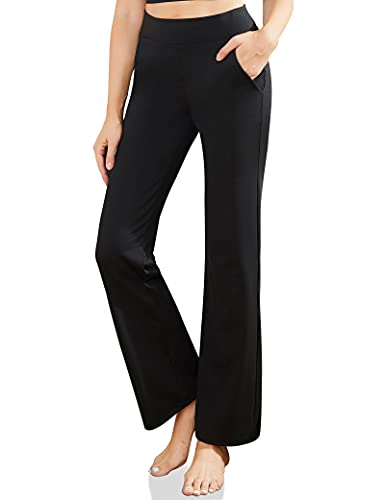 MYOURSA Womens Dress Pants for Work Yoga High Waisted with Pockets Ladies Office Business Casual Loose Pull on Bootcut Stretch Soft Comfy Wide Waistband Tummy Control (Black, X-Large)