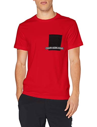 Calvin Klein Instit Contrast Pocket tee Camisa, Red Hot, XL para Hombre