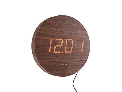 Karlsson – Reloj de Pared Redondo de Madera – Madera Oscura – LE