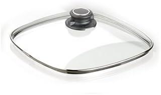 MaxxGoods - Tapa de cristal de seguridad con anillo de acero inoxidable y botón de tapa, fundición de aluminio, Ø 26x26cm