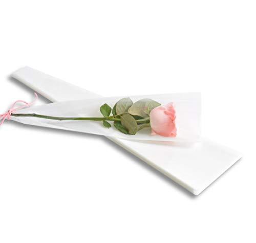 YONIK ラッピングバッグ フラワー 一輪用 ブーケ ラッピング 花 包装紙 50枚 (白)