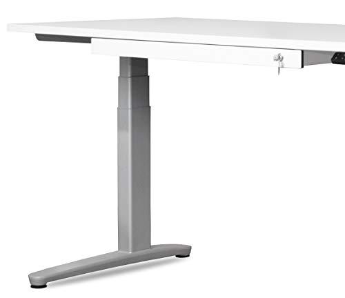 bümö® Schreibtischschublade mit Schloss   1 Schublade als Ablage für Schreibzeug mit Einsatz & Antirutschmatte   Unterbauschublade für Schreibtisch in weiß (1 Schublade)