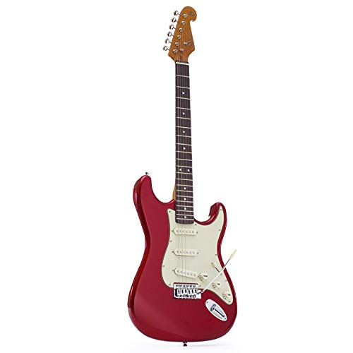 SX E-Gitarre im Stratocaster-Stil, 3/4-Größe, in Rot, mit Gigbag