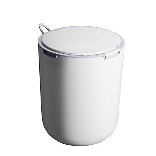 Cubo de Basura de Interior La basura de plástico puede, Prensa Tipo bote de basura, basura doméstica con la tapa, cocina, dormitorio, oficina cesta de papel, Grey / White Trash Bin 2,6 litros Papelera