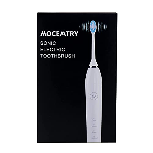 MOCEMTRY Sonic Electric Toothbrush with 4 Duponts Brush Heads, 33000 VPM, 4 Cleaning Mode, IPX7 Waterproof Electric Tooth Brush (Black)
