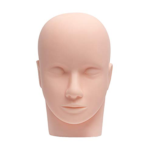 krofaue Training Mannequin Head For Practice Make Up Eye Lashes False Eyelash Extensions, Massage Training, Head Manikin Cosmetology Doll Face Head for Professionals & Beginners