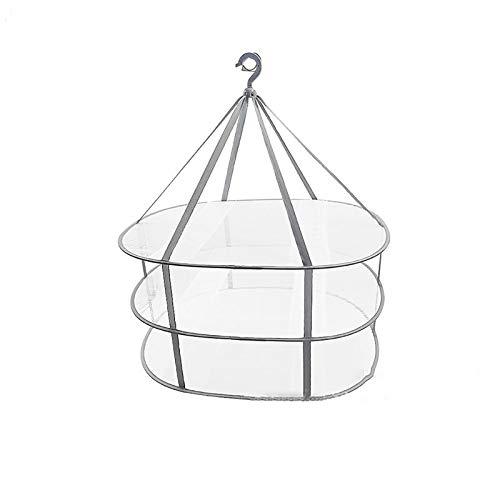 CHENSHJI Tendedero de Ropa de Malla Secadora Red 2 Capas Malla Plegable Secado Cesta De Secado Grueso para Ropa Interior para Exteriores Secado (Color : Gris, Size : 77x62x78cm)