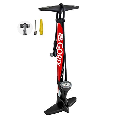 GORIX(ゴリックス) [全バルブ対応] 自転車空気入れ エアゲージ付き [仏式 米式 英式 バルブ対応・ボール 浮き輪] 160psi ママチャリ ロードバイク クロスバイク フロアポンプ GX-33P レッド