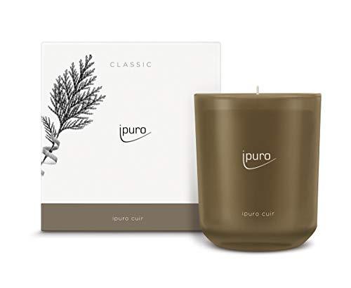ipuro Classic Duftkerze cuir - Raumduft mit sinnlicher und emotionaler Wirkung - Kerze mit hochwertigen Inhaltsstoffen 270g - Perfekt als Geschenk