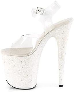 20cm High Heels Weiß Glitzer Plateau Stiletto High Heel Pole Dance Model Laufsteg Schuhe-White  44