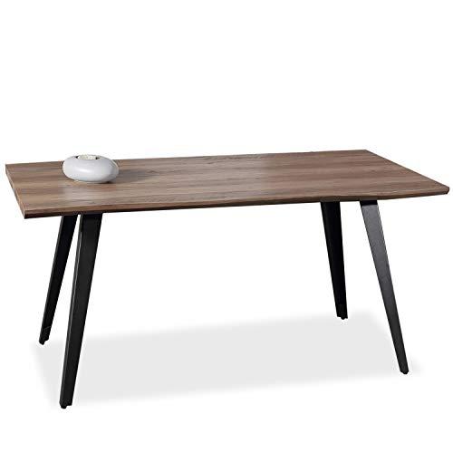 Adec - Branch, Mesa de Comedor, Mesa Salon Fija Color Nogal y Negro, Medidas: 160 cm (Largo) x 90 cm (Ancho) x 76 cm (Alto)