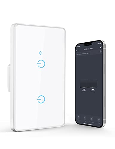 Maxcio Interruttore WiFi Alexa, Smart Interruttore Luce Compatibile con Alexa e Google Home, 503 Scatola a Parete, Smart Switch con Maxcio APP Controllo, Condivisione, Adatto a Camera da Letto(2 Gang)