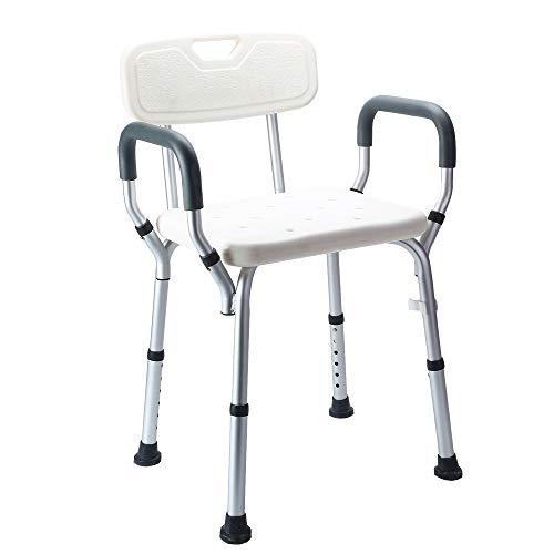 Nisorpa Duschhocker Sitz Verstellbare Dusch- und Badewannenbank 47 x 41 x 76 cm mit Armlehne Gepolsterter Sitz, Badhocker Stuhl Ergonomische Hilfe für Senioren Behinderte Mobilität
