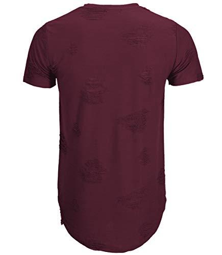 KLIEGOU Mens Hipster Hip Hop Ripped Round Hemline Hole T Shirt(1705) (X-Large, Dark Grey)