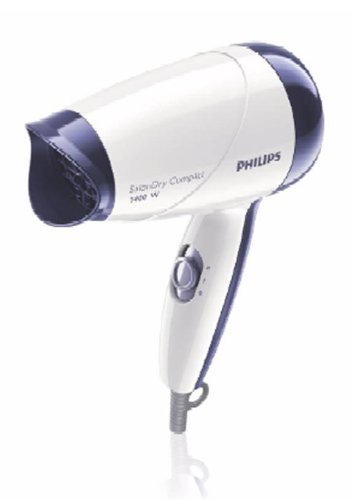 Philips HP8103/00/WH/VT Secador de Pelo HP8103/00, 1400W, 2 Vel, Material Compacto (PLÁSTICO), Violeta, Color Blanco, 9x13x