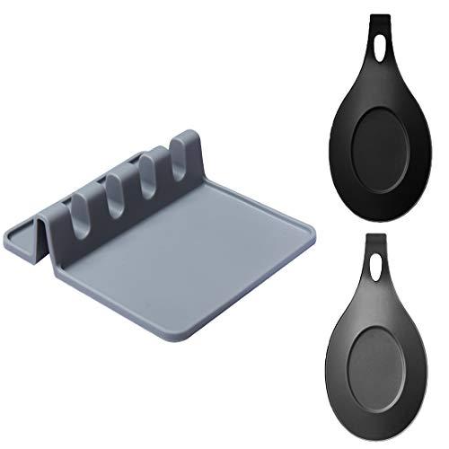 OBSGUMU Porta Utensile da Cucina in Silicone(Set di 3),Silicone Spoon Rest,2 pezzi Supporto Flessibile per Cucchiaio a Forma di Mandorla,Utilizzato per Posizionare Cucchiai o Posate