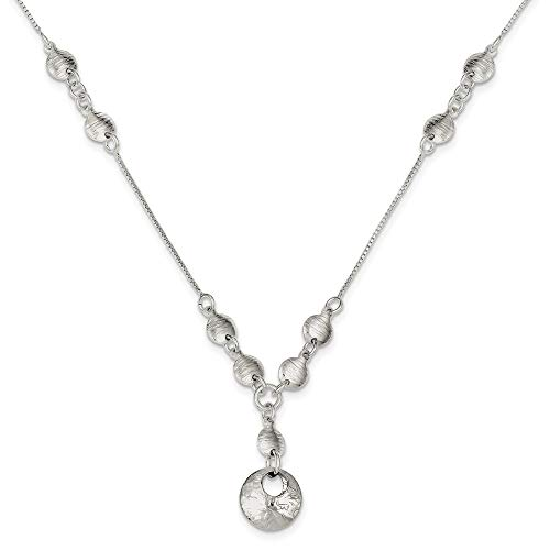 Collar redondo de plata de ley 925 con cierre de langosta pulido y texturizado, para mujer, 46 cm