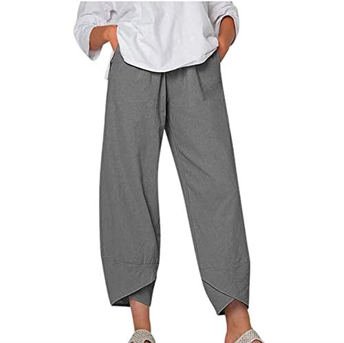 MFFACAI Pantalones Holgados Recortados para Mujer Pantalones Harén Pantalones Deportivos de Pierna Ancha Capris Palazzo Pantalones Deportivos Largos Pantalones de Chándal Holgados Cintura Elástica