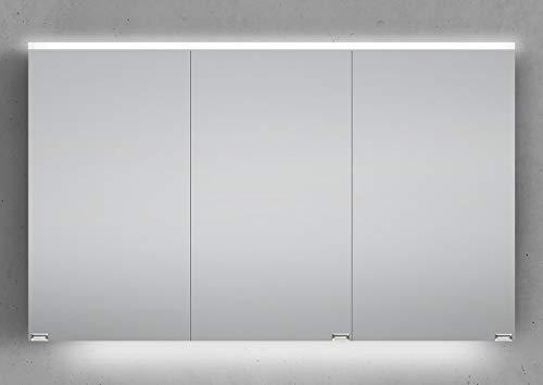 Intarbad ~ Spiegelschrank 120 cm integrierte LED Beleuchtung doppeltverspiegelt Weiß Matt