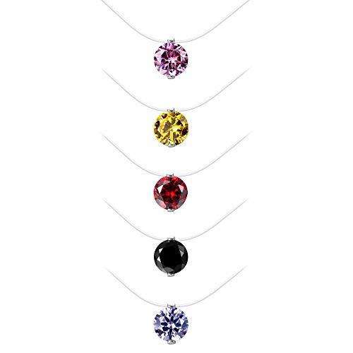 Finrezio 5 Piezas Gargantilla de Nailon Transparente Collar Invisible para niña Mujer Solitario circonita Colorida CZ