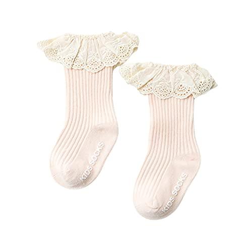 Kongqiabona-UK Calcetines Antideslizantes para niños de Encaje Calcetines medianos para niñas Calcetines para bebés Material de algodón de Fibra Larga Diseño de Boca Suelta de Doble Aguja