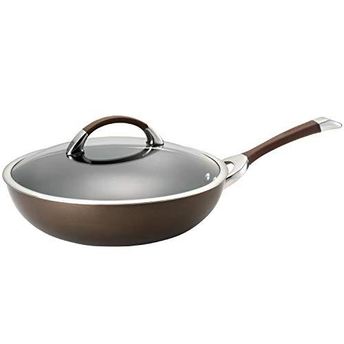Circulon 82770 Symmetry Hard Anodized Nonstick Wok/Stir Fry Pan with Lid, 12 Inch, Chocolate