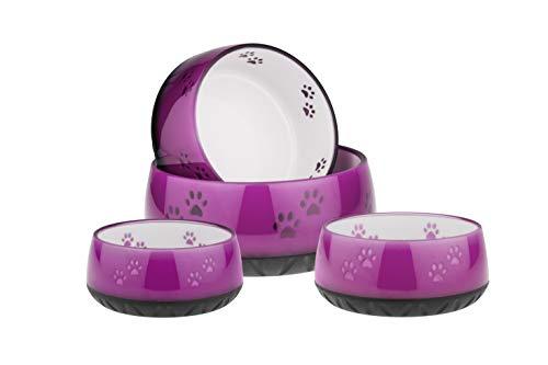 EHASO Hundenapf mit Pfötchen - Futter- und Trinknapf für kleine und große Hunde (1000ml, Pink)