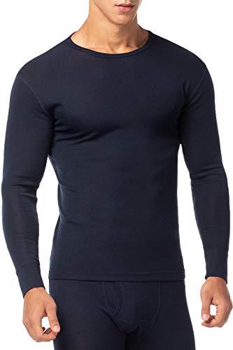 LAPASA Men's 100% Merino Wool Thermal Underwear Top Crew Neck Base Layer Long Sleeve Undershirt M29 (S Chest 35'-37' Sleeve 22', Navy)