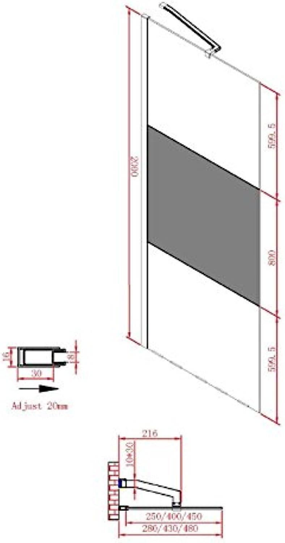 Vital Arenada Walk-In Dusch-Seintenwand satiniert 45 x 200 cm, R-SN-2120-45S