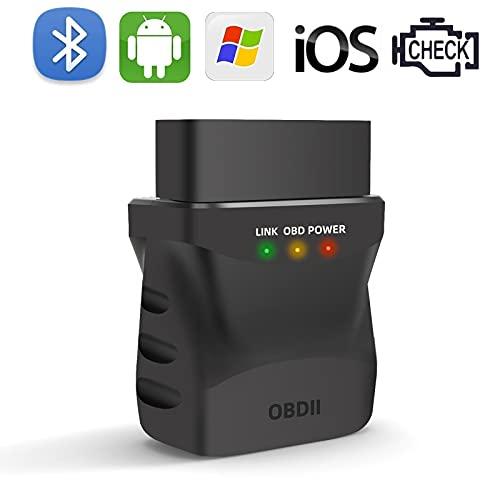 OBD2 Bluetooth 4.0 Escáner de Diagnóstico Auto, ELM327 Fuerte Compatibilidad OBD WiFi, Mini Adaptador Inalámbrico para iPhone iOS Android Windows Tablet Smartphone PC iPad