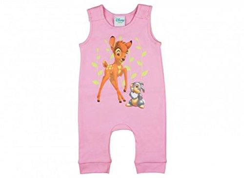 Disney - Bambi Mädchen Baby-Strampler, mit Klopfer in GRÖSSE 50, 56, 62, 68, 74, Baby-Schlafanzug ÄRMEL-LOS mit Druck-Knöpfen, WANZI, Spiel-Anzug für Neugeborene, SUPER SÜSS Größe 62