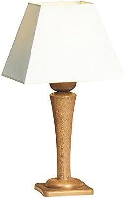 KWO Olbernhau 80035 Lampe de Table Pied en chêne huilé 60 cm, Hauteur de l'abat-Jour: Blanc