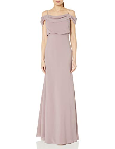 Jenny Yoo Women's Sabine Draped Off The Shoulder Crepe Gown, Fig, 14 (Apparel)