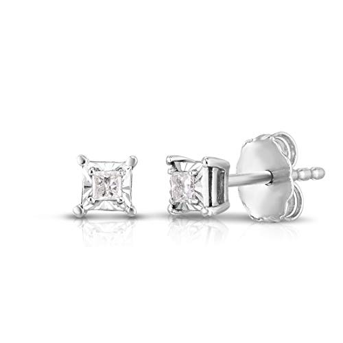 Femme Luxe 0.10 Carat Miracle Setting Princess Cut Diamond Stud Earring for Women. 925 Sterling Silver, 4 Prong Basket Set, Push Back Clasp, Hypoallergenic, Dainty