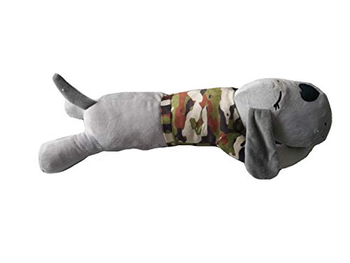 The Dog Pillow Company Plush Pet Pillow/Dog Neck and Body Straight Pillow for Upper Spine and Calming Support, Grey with Camo Shirt, 19 x 6 x 5 Inches