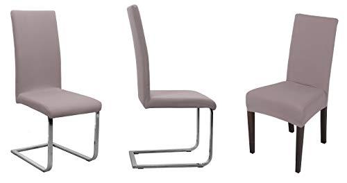 BEAUTEX Stuhlhusse Jersey, 2er Set elastische Stretch Husse Baumwolle Bi-Elastic, Farbe wählbar (Taupe-Braun)