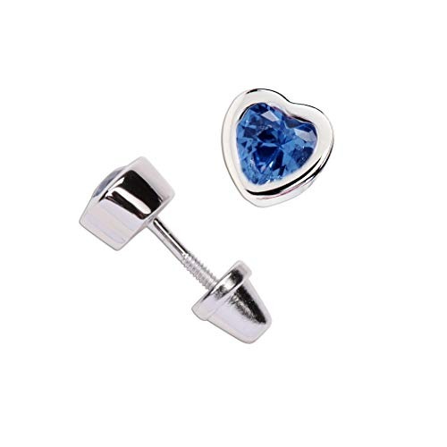 Girl's Sterling Silver September CZ Simulated Birthstone Heart Earrings with Screw Back (6mm)