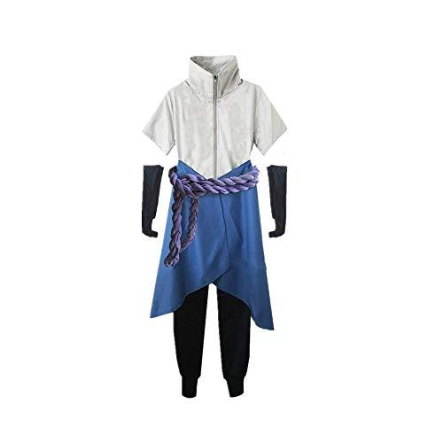 JLCYYSS 5PCS Anime Naruto Uchiha Sasuke Cosplay Kostüm Karneval Halloween Täglich Casual Uniform Anzüge Japanische Tradition Kimono Outfit Hohe Qualität