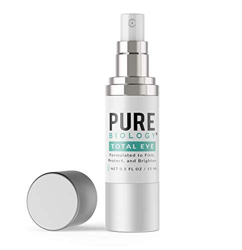 Pure Biology Premium Total Eye Cream Serum - Anti Aging Vitamin C, E & Hyaluronic Acid Reduce Dark Circles, Puffiness, Under Eye Bags, Wrinkles & Fine Lines for Men & Women (0.5 oz)