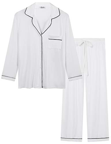 Joyaria Damen Pyjama Lang Weich Bambus Schlafanzug mit Knopfleiste Langarm...