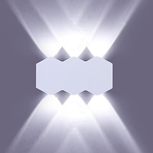 ENCOFT Aplique de Pared LED 6W Interior Moderna, Lámpara de Pared con Luz Up Down Blanco Frio 6000K, Lámpara Iluminación Pared Rectangular en Aluminio IP54, para Salón Dormitorio, Blanco